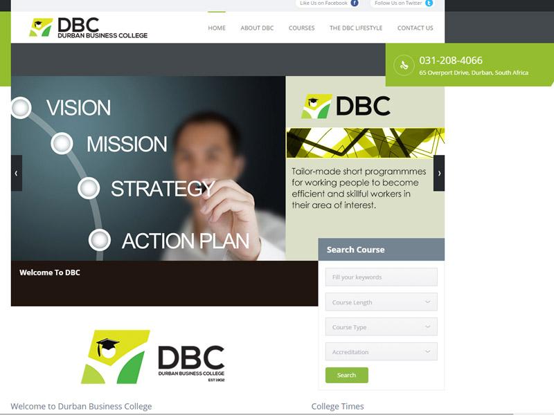 Durban Business College Website Design CMS