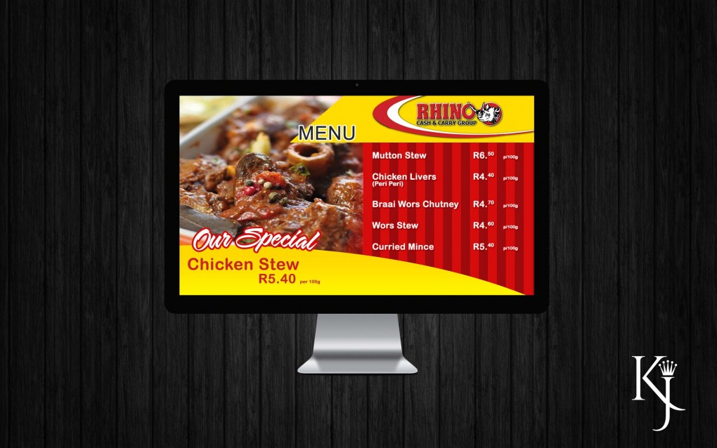 In Store Digital Menu Screen