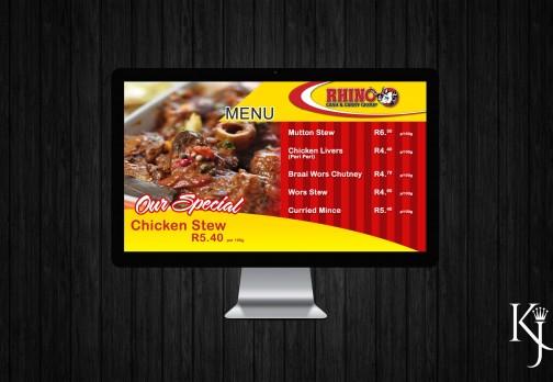 In Store Digital Menu Screen